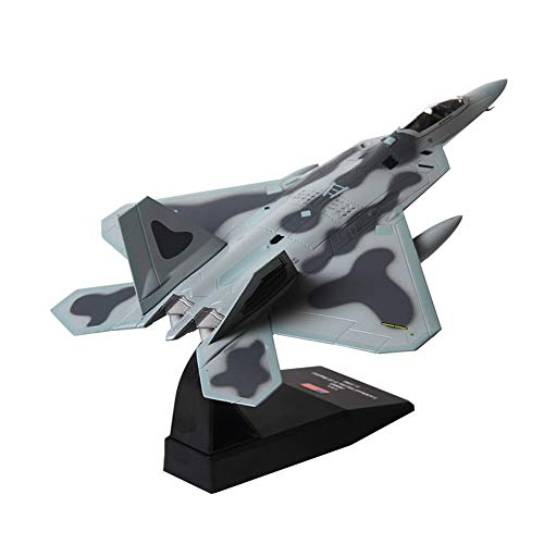(1/100 Scale F-22 Raptor Plane Model, Fighter Attack Plane Metal Military Model Kit with Stand)