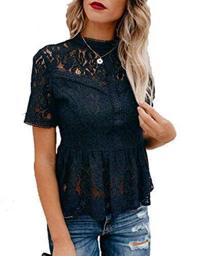 Tobrief Womens Mesh Lace Tops Hollow Out Patchwork Ruffle Short Sleeve Blouses Dark Blue S