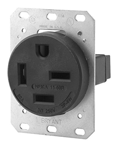 Bryant Electric 8460FR 60 Amp 250V NEMA 15-60R Flush Straight Blade Receptacle, Black