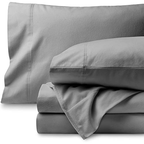 Bare Home Flannel Sheet Set 100% Cotton, Velvety Soft Heavyweight - Double Brushed Flannel - Deep Pocket (Twin XL, Light Grey)