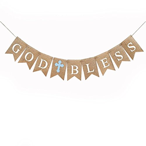 GOD BLESS Banner Natural Burlap Baptism Banner Baptism Communion Party Christening Baby Shower Decorations Party Supplies - Brown And Blue ()