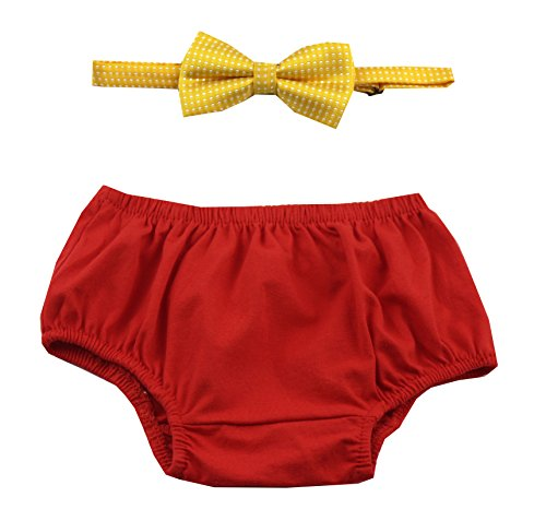 Cake Smash Outfit Boy First Birthday Includes Bloomers and Bow Tie (Red Bloomer and Yellow Bow)
