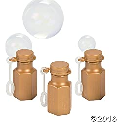 Fun Express Gold Wedding Anniversary Hexagon Bubble Bottles - 48 Pieces