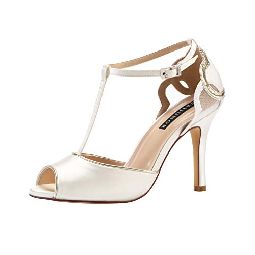 ERIJUNOR E0021 Women High Heel Peep Toe T-bar Sandals Satin Wedding Bridal Party Shoes Ivory Size 6