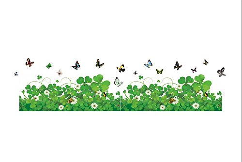 Lkous Removable Beautiful Green Flowers And Clover Wall Decals Murals Home  Art Decor Peel Stick Wall Stickers For Wall Corner Kids Room Bedroom Living  Room ...