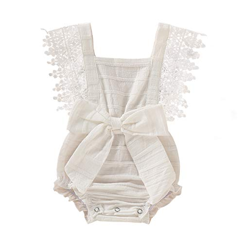 Newborn Baby Ruffle Romper Lace Sleeveless Bodysuits Bowknot Tassels Jumpsuit Sunsuits Summer Outfits (3-6 Months, White lace Romper) ()