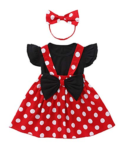 Toddler Girl Ruffle Sleeve Tops+Polka Dot Suspender Skirt+Bowknot 3 Piece Summer Outfits (110, Red&Black)