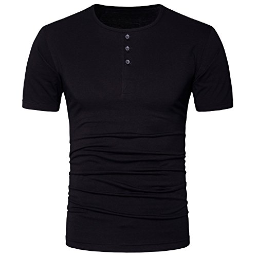 3 Button Casual Shirt - Manwan walk Men's Casual Slim Fit Short Sleeve Henley T Shirts With 3 Buttons T77 (Large, Black)