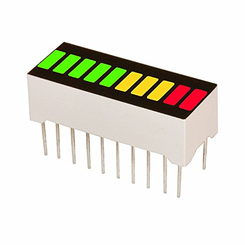 New Single Panel 10 Segment LED Bar Graph Display with 3 Colors (2X Super Bright Red+ 3X Yellow + 5X Super Bright Green) LED Bar Graph (DIY or Arduino)