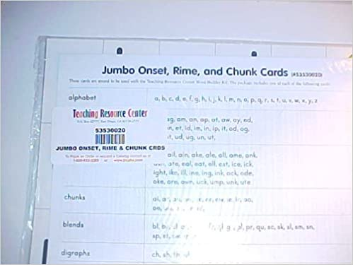 Jumbo Onset, Rime and Chunk Cards: Teaching Resource Center