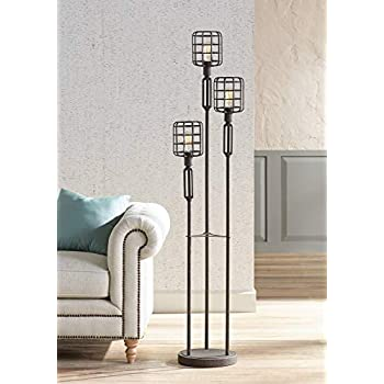 Modern Industrial Floor Lamp Rustic Metal Cage Dimmable 3 Light Led Antique Edison Bulbs For