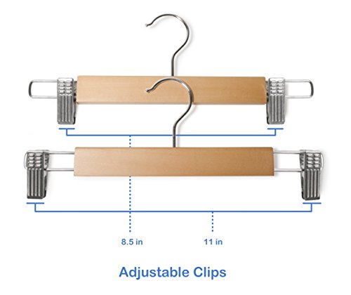 Mahogany Finish Topline Classic Wood Pants//Skirt Hanger with Adjustable Clips 10 Pack