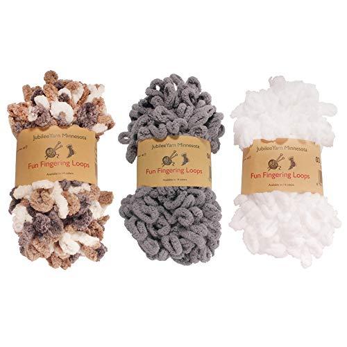 BambooMN Finger Knitting Yarn - Fun Finger Loops Yarn - 100% Polyester - Assortment 99-3 Skeins