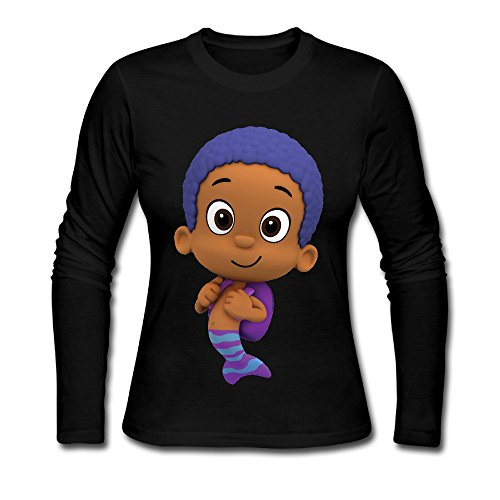 Women Funny Sayings O Neck Bubble Guppies Goby Long Sleeve T-Shirt Black US Size XXL