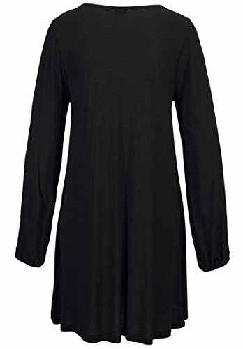 Long Sexy Womens Sleeve Mini Black Domple Cutout Casual Beach Dress Neck Round 0fEBxx