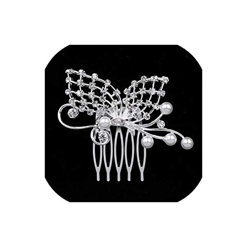 Perfect-Mood Pearl Crystal Wedding Hair Jewelry Charm Floral Bridal Hair Combs Women Party Hairpins Wedding Hair Accessories,style 12