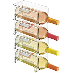 mDesign Plastic Free-Standing Water Bottle and Wine Rack Storage Organizer for Kitchen Countertops, Table Top, Pantry, Fridge - Stackable, Each Rack Holds 1 Bottle - Pack of 4, Clear