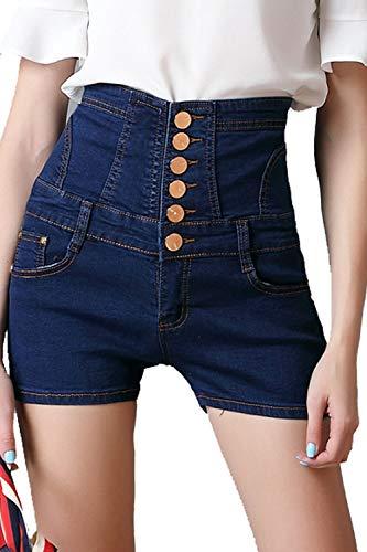 Yacun Mujeres Pantalones Cortos Vaqueros Denim Basic Hot Pants Parte Alta Wasit Azul Oscuro