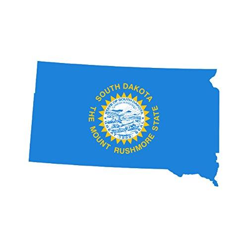 [South Dakota State Shaped Flag Sticker Self Adhesive Vinyl Decal SD] (Dakota State Flag Decal)