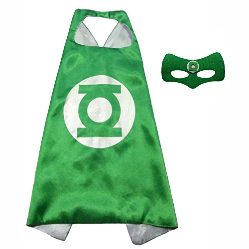 FASHION ALICE Superhero Superman CAPE & MASK SET Adult, Mens, Womens Halloween Costume Cloak Kids Girl And Boy Cape and Mask Costume for Child,Pretend Play,Dress Up,Parties (Green (Green Lantern Womens Costume)