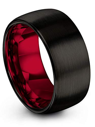 Chroma Color Collection Tungsten Carbide Wedding Band Ring 10mm for Men Women with Red Interior and Black Exterior Dome Style Brushed Polished Comfort Fit Anniversary Size 14