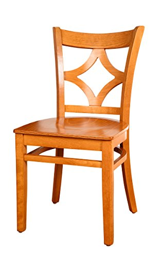 (Beechwood Mountain BSD-23SS-C Solid Beech Wood Side Chairs in Cherry with wood seat for Kitchen and dining, set of 2)