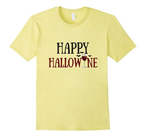 [Mens Happy Hallowine Shirt Funny Halloween Shirt for Wine Lovers Large Lemon] (Office Themed Halloween Costume Ideas)