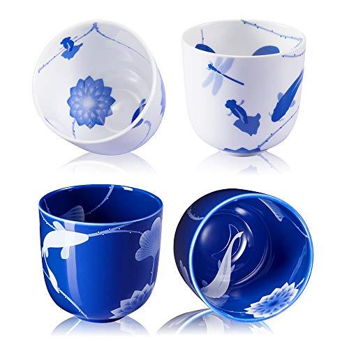 ZENS Bone China Tea Cup Set of 4,Japanese Teacups,Porcelain Tea Cup Mug 8oz/230ml with Gift Pack
