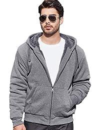 Men's Winter Heavyweight Fleece Hoodie Jackets Sherpa Lined with Full Zip