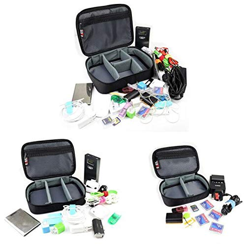 BUBM 3pcs/Set Padded Travel Office Cord Cable Gear Organizer Electronics Accessories Bag Gadget Carry Pouch