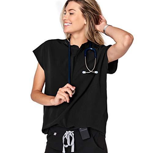 FIGS Rafaela Two-Pocket Mandarin Collar Women Medical Scrub Top (Black, S) ()