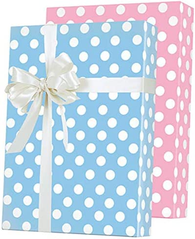 Dennison Gift Wrap Vintage Wrapping Paper New Babies Blue Pink Graphic Elephant Gift Wrap