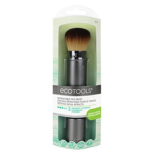EcoTools Retractable Kabuki, Made with Recycled and Sustainable Materials, Cruelty Free Synthetic Taklon Bristles, Aluminum Ferrule, Recycled Packaging -