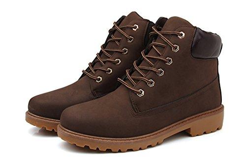 Honeystore Erwachsene amp; Boots Schnürer Stiefeletten Braun Unisex Profilsohle Worker Gefüttert Ungefüttert fAwxfHBF