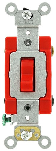 mp, 120/277 Volt, Toggle 4-Way AC Quiet Switch, Extra Heavy Duty Grade, Self Grounding, Back and Side Wired, Red ()