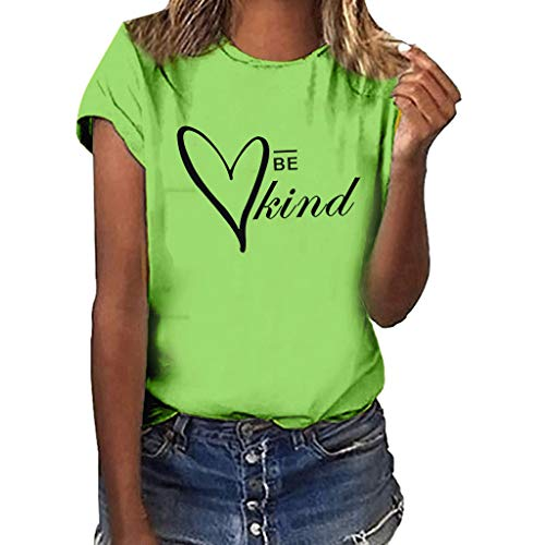 HEJANG Women's Summer Casual Loose Short-Sleeved Tops Blouse Heart Print O-Neck Hot T-Shirt (XXXL, C-Green)