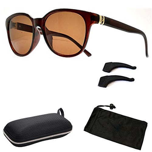 Bifocal Sun Readers All in One Women Premium Designer Fashion Sunglasses Reading Glasses (Style B Brown, 2.0) Brn 1 Brown Sunglasses