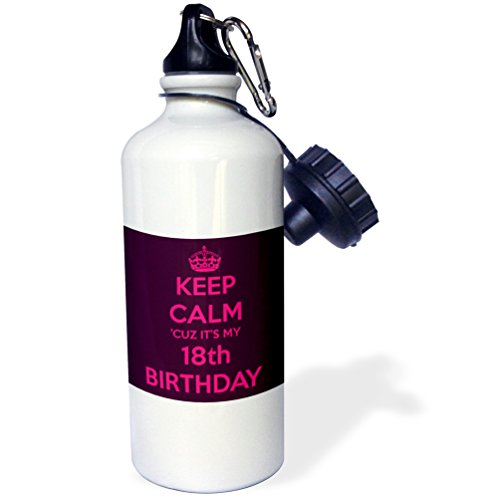 "3dRose wb_163835_1 ""Keep calm cuz its my 18th birthday, Pink and Maroon"" Sports Water Bottle, 21 oz, White"
