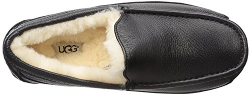 UGG Mens Ascot Leather Black Leather Slipper 17 D (M) Black Leather