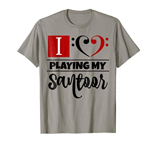 Double Black Red Bass Clef Heart I Love Playing My Santoor T-Shirt