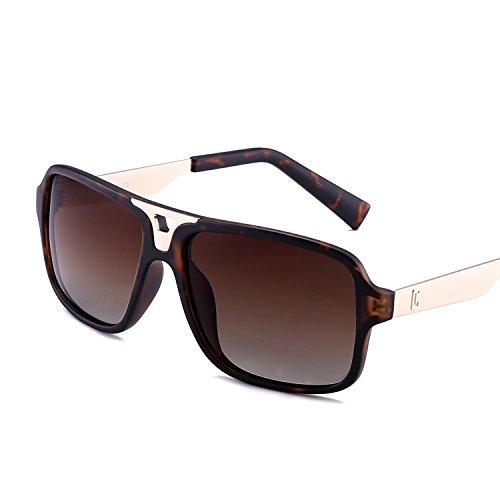 Fenchi Classic Square Driving Polarized Sunglasses For Men Women Sports Sunglasses 971 (lens:brown/frame:matte demi/temple:matte gold) by FENCHI