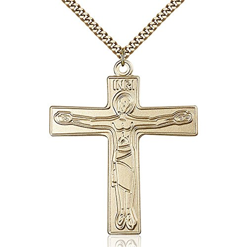 Gold Filled Cursillio Cross Pendant 2 x 1 5/8 inches with Heavy Curb Chain by Bonyak Jewelry Saint Medal Collection