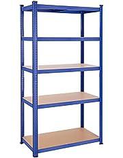 SONGMICS opbergrek met 5 legborden, 200 x 100 x 50 cm, tot 875 kg draagvermogen (175 kg per legbord), heavy duty rack, in hoogte verstelbare legborden, versterkt stalen frame, blauwe GLR050Q01