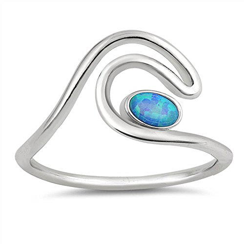 Sterling Silver Double Wave (Oxford Diamond Co Sterling Silver Double Wave Lab Created Oval Opal Ring Sizes 5)