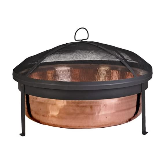 CobraCo SH101 Hand Hammered 100% Copper Fire Pit with Screen and Cover - Make sure this fits                by entering your model number. Extra deep tub for larger and longer lasting fire Sturdy metal construction, contemporary stand design - patio, outdoor-decor, fire-pits-outdoor-fireplaces - 41Z6C9oc5ML. SS570  -