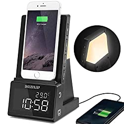 dpnao Nightstand Alarm Clock with Wireless Charging,Bluetooth Speaker,Night Light,USB Charging Port,Dimmable Large Numbers Display,Simple to Operate