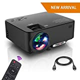 Projector, Upgraded TENKER Projector, 65% Brighter, Mini Home Theater Movie Projector with 4.0'' LCD and Up to 176-inch Display, Supports 1080P HDMI/USB/SD Card/AV/VGA for TVs/Laptops/Games(Black)