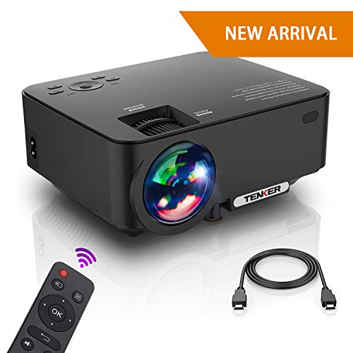 "Projector, Upgraded TENKER Projector, Now 65% Brighter, Mini Home Theater Movie Projector with 4.0"" LCD and Up To 176-inch Display, Supports 1080P HDMI/USB/SD Card/AV/VGA for TVs/Laptops/Games (Black)"