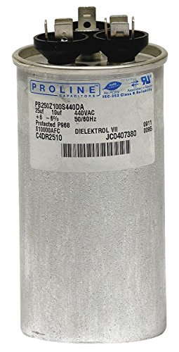 Proline PB350Z050S370DAGR • 35 + 5 uf / Mfd 370 / 440 VAC AmRad Replacement Round Dual Universal Capacitor • Made in the U.S.A.