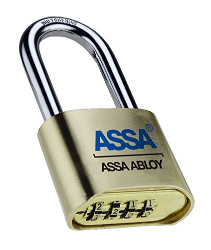 Assa Abloy SRB37 4 Dial Bottom Resettable Combination Brass Padlock with 2-1/4-Inch Hardened Steel Shackle and 10,000 Potential Combinations (6-Pack)